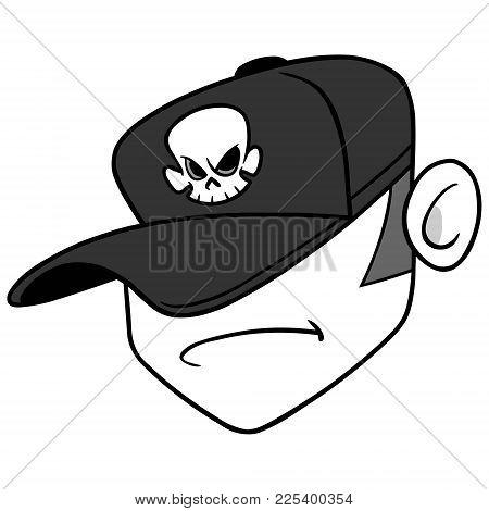 Dj Badass Illustration - A Vector Cartoon Illustration Of A Disc Jockey Musician.