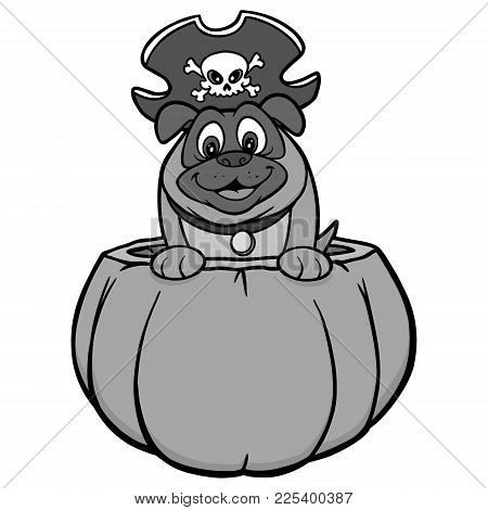 Dog And Pumpkin Illustration - A Vector Cartoon Illustration Of A Dog In A Pumpkin With A Pirate Hat