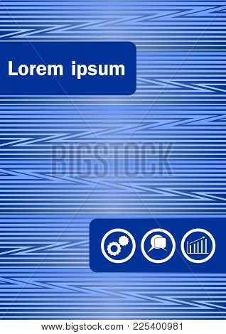 Blue Abstract Flyer Or Book Cover Template With Icon Panel. Poster With Green Line Patterns On Dark