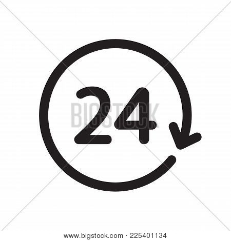 24h Icon Isolated On White Background. Vector Stock.