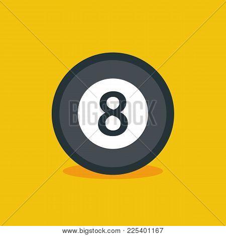 Billiard Ball Flat Icon Isolated. Vector Stock.
