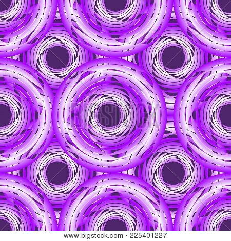 Purple Seamless Background With Overlapping Circle Shapes On Black Background, Vector Eps10