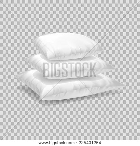 Realistic Pattern Template Of White Pillow. Pile Empty White Pillow Layout, Mockup, Home Interior Be