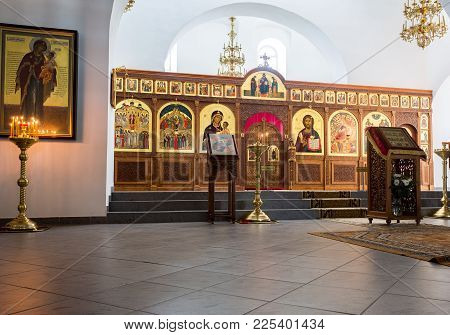 Veliky Novgorod, Russia - August 17, 2017: Interior Of The Saviour Cathedral At The St. George (yuri
