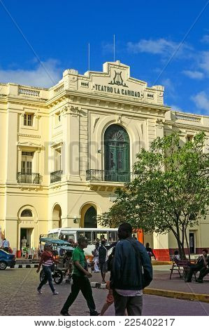 The Charity Theater In Parque Vidal, The Center Of The City Of Santa Clara, Cuba
