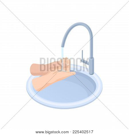 Proper Care Hands, Washing, Preventive Maintenance Of Diseases, Bacteria. Proper Movements When Wash