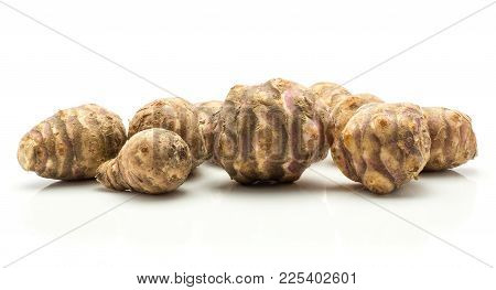 Jerusalem Artichoke Tubers Isolated On White Background Sweet Crisp Topinambur