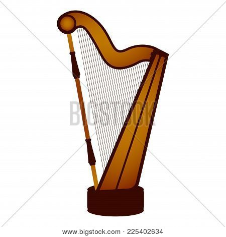 Isolated Harp. Musical Instrument. Vector Illustration Design