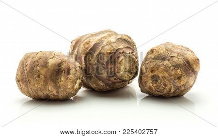 Three Jerusalem Artichoke Tubers Isolated On White Background Sweet Crisp Topinambur