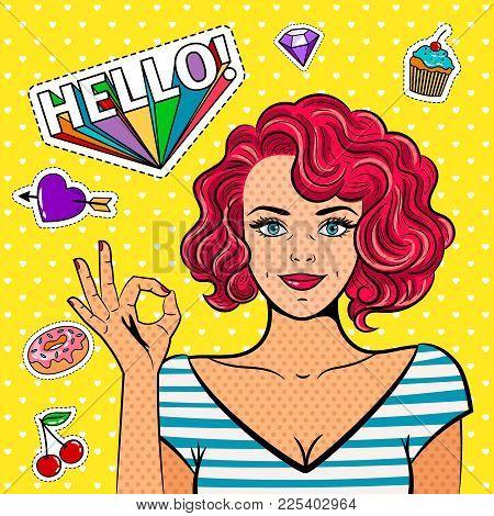 Ok Pop Art Girl. Fine Art Fashion Women, Vintage Popart Lady Face With Okay Hand Sign Vector Illustr