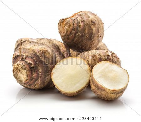 Jerusalem Artichoke Tubers One Sliced Isolated On White Background Sweet Crisp Topinambur Stack