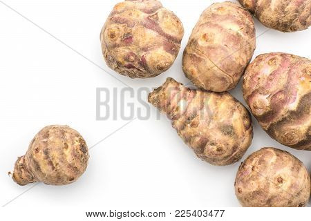 Jerusalem Artichoke Tubers Top View Isolated On White Background Sweet Crisp Topinambur