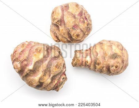 Three Jerusalem Artichoke Tubers Top View Isolated On White Background Sweet Crisp Topinambur
