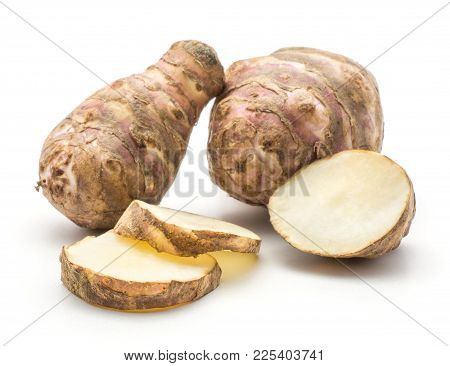 Two Jerusalem Artichoke Tubers With Three Slices Isolated On White Background Sweet Crisp Topinambur