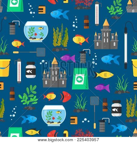 Aquarium Seamless Pattern Background On A Blue Hobby Or Decor Interior Home Include Of Thermometer,