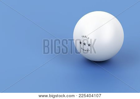 Plastic Ball For Ping Pong On Blue Table, 3d Illustration