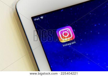 New York, Usa - February 02, 2018: Instagram Application Icon On Ipad Screen.  Instagram Icon On Sta