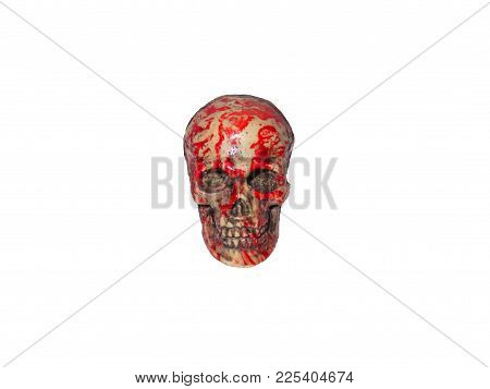 Scary Bloody Human Skull On White Background Isolated