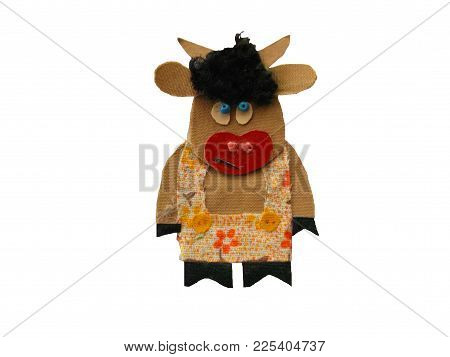 A Homemade Funny Bull Toy On A White Background Isolated