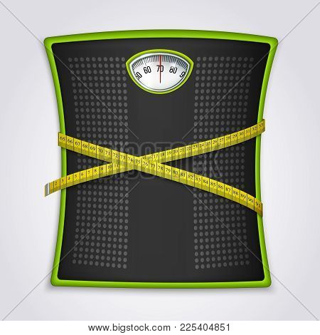 Mechanical Floor Dial Scale With Yellow Measuring Tape For Weight Loss Fitness Goals Tracking Realis