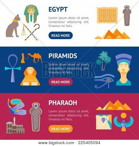Cartoon Symbol Of Egypt Banner Horizontal Set Welcome Travel Concept Oriental Culture. Vector Illust