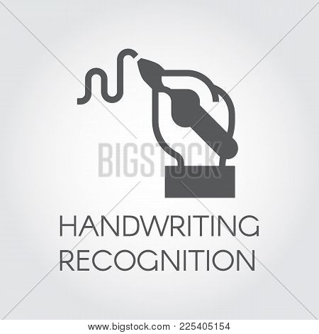 Handwriting Recognition Flat Icon. Hand Holding Pen And Writing Line, Conclusion Contract Or Modern