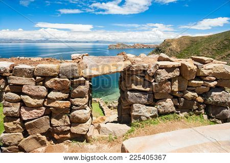 Ancient Ruins On The Island Of Sun (isla Del Sol), Titicaca Lake, Bolivia