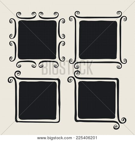 Frames With Whimsical Swashes. Cute Hand Made Set Painted With Ink Brush. Hand Drawn Doodle Picture