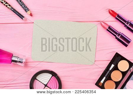 Set Of Fashion Cosmetic Products, Top View. Make Up Beauty Accessories On Pink Wooden Background, Bl