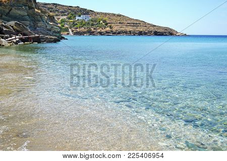 Landscape Of Batsi Beach Andros Island Cyclades Greece