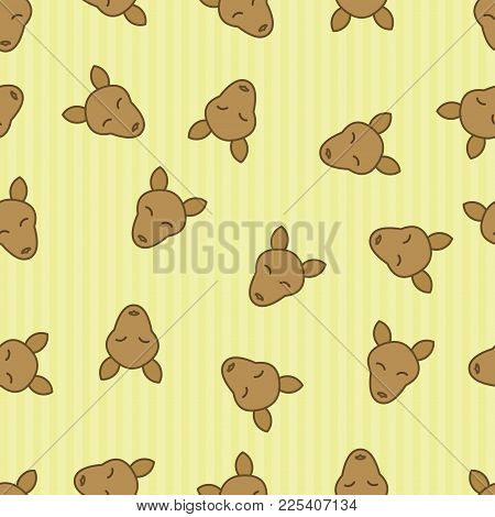 Kangaroo Seamless Pattern Background. Textile For Baby With Wallaby. Vector Wallaroo. Kid Sleeping