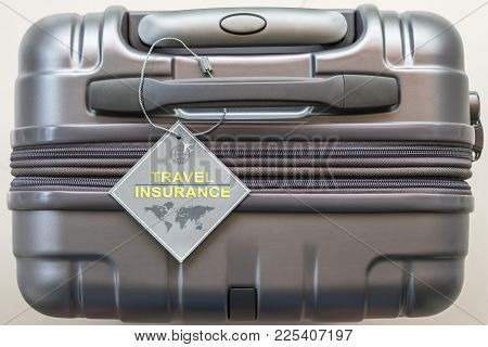 Travel Insurance Protection Plan For Airline Safety And Security With Tag On Passenger Suitcase Lugg