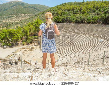 Ancient Greek Amphitheater Epidaurus, Island Of Peloponnese, Greece.