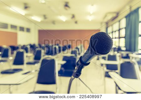 Microphone Voice Speaker In School Lecture Hall, Seminar Meeting Room Or Educational Business Confer