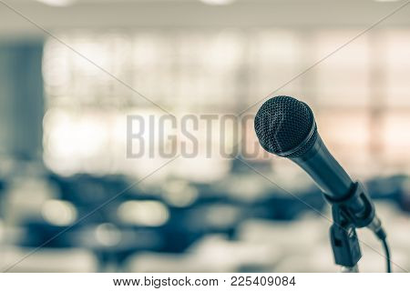 Microphone Voice Speaker In Seminar Classroom, Lecture Hall Or Conference Meeting In Educational Bus