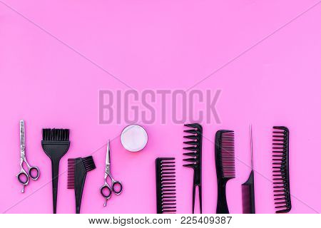 Beauty Saloon Equipment. Hairdress And Haircut. Combs, Sciccors, Brushes On Pink Background Top View