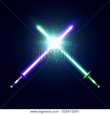 Purple And Green Crossed Light Neon Swords With Trembling Blades Fight. Laser Sabers War. Glowing Ra