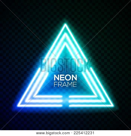 Blue Neon Light Triangle. Gradient Delta Techno Frame. Night Club Electric Bright 3d Sign. Banner De