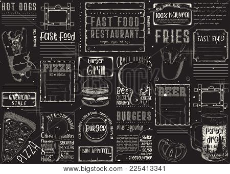 Fast Food - Pizza, Hot Dog, Burgers -  Chalk Drawn Menu Design With Place For Text On Blackboard. Pl