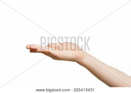 Holding Or Offering. Outstretched Kid Hand, Child Keeping Empty Palm On White Isolated Background