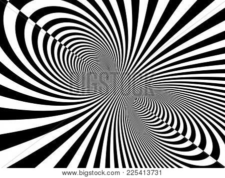 Abstract illusion. Black and white. Background with tube shape with striped pattern. 3d render