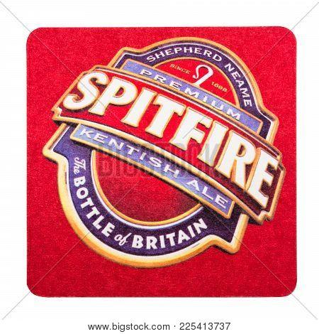 London, Uk - February 04, 2018: Spitfire Kenitish Ale Original Beermat Coaster Isolated On White Bac