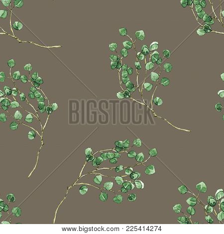 Hand Drawn Leaves Branches Watercolor Seamless Pattern Illustration On Brown Background. Will Be Goo