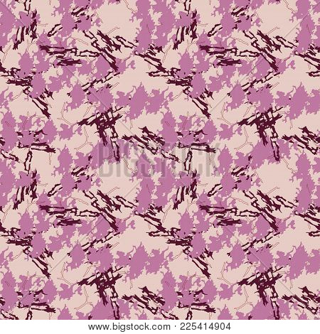 Seamless Pattern With Imitation Of The Marble. Rose And Red Inclusions On Pink Background With Crack