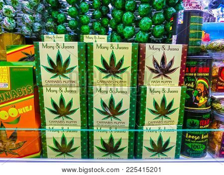 Prague, Czech Republic - December 31, 2017: Cannabies Cookies In Shop In Prague, Czech Republic On D