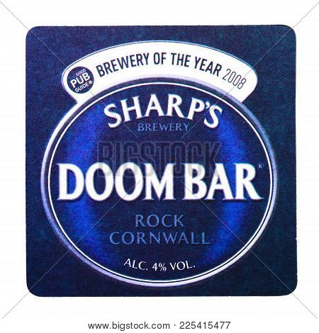 London, Uk - February 04, 2018: Sharp's Brewery  Doom Bar Beermat Coaster Isolated On White.