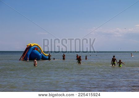 Inflatable Water Slide In Azov Sea