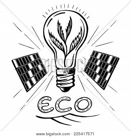 Eco Energy Sheet Symbol Alternative Power. Solar Cells.  Alternative Sources Of Energy Hand Drawn Ve