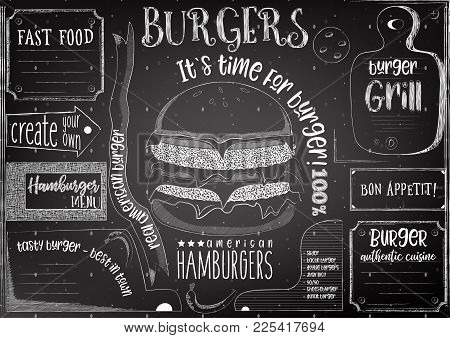 Burgers Chalk Drawn Menu Design With Place For Text On Blackboard. Placemat For Restaurant, Bar, Pub