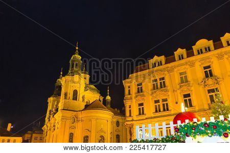 Church St. Nicolas In Prague, Old Town Square At Night
